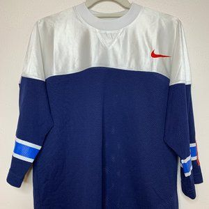 Nike Athletic Top in Blue Mesh and White